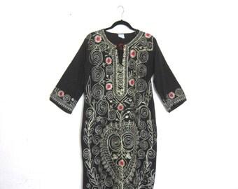 Embroidered Ethnic Kaftan Black Cotton w/Cream Thread Bohemain Maxi Dress Ladies Size S/M