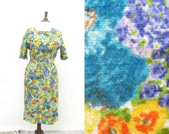 "20% Off Sale Sale 1950s Floral Linen Wiggle Dress Ladies Size 8/10 Waist 29"" by Gilbert Orcel"