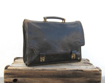 Italian Worn In Black Leather Satchel Briefcase