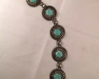 Vintage Faux Turquoise and Silver Bracelet