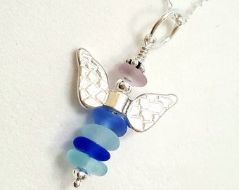 GENUINE Sea Glass Necklace, Angel Necklace, Seaglass Pendant, Beach Glass Necklace, Sterling Silver Beach Jewelry, Religious Jewelry