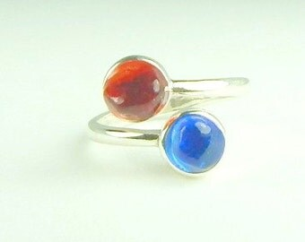 GENUINE Sea Glass Ring Sterling Silver Blue And Red Resin Seaglass Ring
