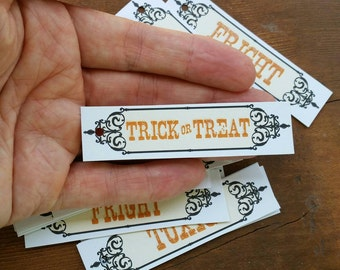 24 Orange Glitter Halloween Words Gift Tags, Labels, Party Favors