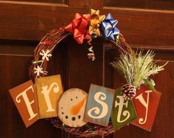 FROSTY Door Wreath with Snowman Christmas Wreath