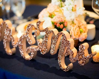 Glitter Mr and Mrs Sign for Wedding Sweetheart Table, Mr and Mrs Letters, Large Thick Mr & Mrs Sign Set (Item - TMK200)