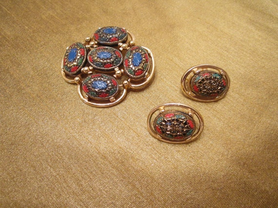 Vintage Brooch and Earrings - Signed Sarah Coventry - 1960s - Red Green Blue Enamel on Gold Plate