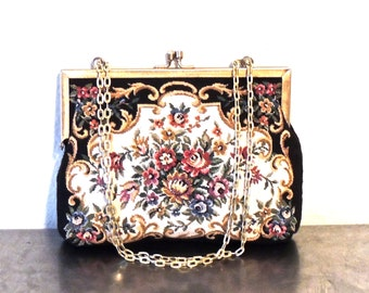 vintage tapestry purse - 1930s-40s Mister Ernest chain strap tapestry purse