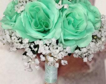 Mint Bridal Bouquet, Mint Wedding Bouquet, Maid's Mint Artificial Wedding Flowers