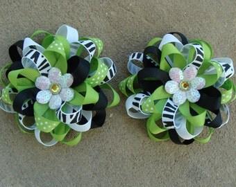 Zebra Hair Bow Zebra Bow green Zebra Hair Bow black and green flower hair bow Hair Clip set round hairbow handmade hairbow my lucky hair bow