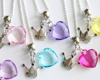 Princess Party Favor Necklaces Crown and Heart Birthday Party 10+ Mixed Colors, Kids Party Favors, Girls Favor, Girl Birthday
