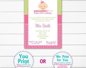Baby girl shower invitation  -  baby shower invitation baby girl loading