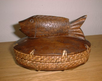Small Basket/ Wood Gift Container BALI Carved FISH for Luck