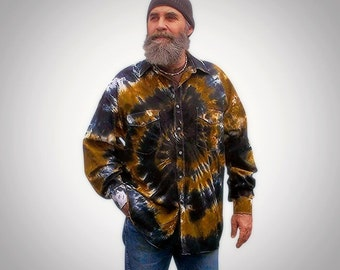 Brown and Black Tie Dye | Snap Shirt | Cotton | Music Festival Clothing | Ready to Ship
