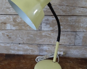 Vintage Gooseneck Lemon Yellow Shabby Chic Table Lamp