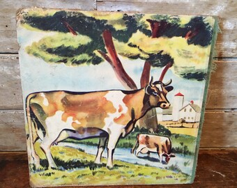 Vintage Cow Press Hardboard  1940s