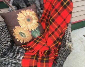 Vintage Fringe Lap Blanket Fall Colors Yellow and Black Reddish Orange