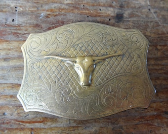Vintage Long Horn Cow Belt Buckle