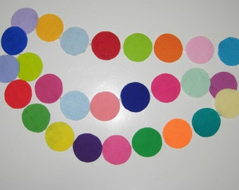 Fabric Circle Garland, Swag, Reversable, Solid And Prints, 5 -3/4 Feet Long