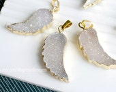 Druzy, Druzy pendant, Druzy Agate, Drusy, Gold Plated agate Angel wing Druzy Necklace pendant in natural color, Gemstone Pendant-JSP-9223