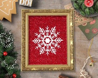 Snowflake Red Glitter Wall Art Printable- 8x10 - Instant Download, Holiday, Snow, Winter, Kitchen, Home Decor