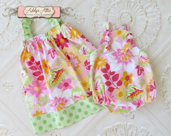 Big Sister Little Sister Outfit, Sibling Outfits, Girls Flutter Sleeve Dress, Baby Girl Sunsuit
