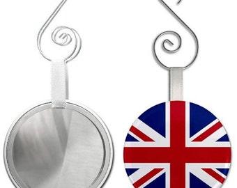 ENGLAND UK Union Jack World Flag 2.25 inch Glass Mirror Backed Ornament