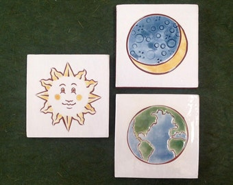 """ON SALE: Set of 3 Sun, Moon and Earth tiles, wall art or coaster 4""""x4"""""""