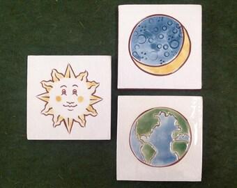 "Set of 3 Sun, Moon and Earth tiles, wall art or coaster 4""x4"""
