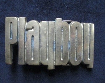 Vintage 1978 Playboy Solid Brass Belt Buckle Baron Buckle