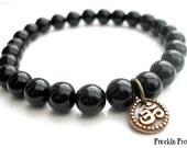 ॐ Mens Black Onyx Bracelet - Copper OM Charm, Wrist Mala, Mens Spiritual Bracelet