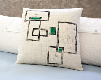 Modern geometric pillow hand quilted and hand printed 17x17 neutral decor statement piece