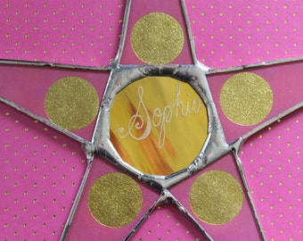 Golden Globe Star- lacquered paper on glass with gold mirror center- 10 inches