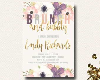 Fall Bridal Shower Invitation Brunch Champagne Bubbly Floral Gold Eggplant Purple