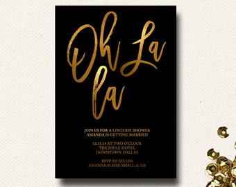 Black and Gold Oh La La Bridal Lingerie Shower French Invitation Typography