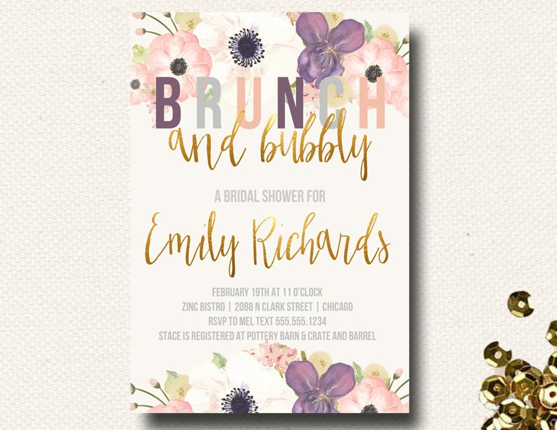 Fall Wedding Shower Invitations: Fall Bridal Shower Invitation Brunch Champagne Bubbly Floral