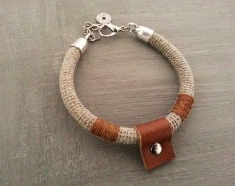 Linen Mens Bracelet, Tube Mens Bracelet, Thick Mens Bracelet, Men's Gift, Linen Crochet Men, Chinese Coin Charm Bracelet