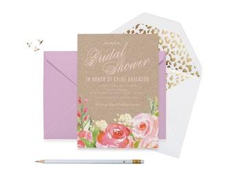 """Spring Floral Bridal Shower Invitation - Water Color Flowers Printable JPEG Wedding Shower Invitation - 5""""x7"""" Modern Shower Invitation"""
