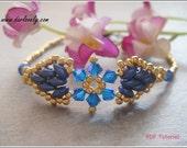 Beaded Bracelet Pattern - Golden Superduo Blue Flower Bracelet (BB187) - Beading Jewelry PDF Tutorial (Instant Download)