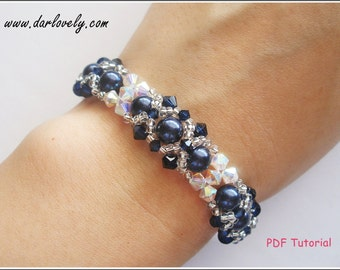 Beaded Bracelet Tutorial Pattern - Crystal Blue Pearl Bracelet (BB037) - Beading Jewelry PDF Tutorial (Instant Download)
