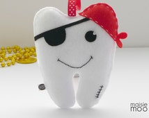 Pirate Tooth Fairy Pillow - Boys Tooth Pillow - Fairy Pillow - Lost Tooth - Loose Tooth - Tooth shaped Pillow