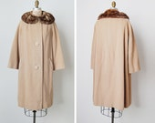 vintage 1950s coat / 50s wool coat / tan wool coat / Dulce de Leche coat
