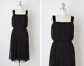 vintage 1960s dress / silk chiffon dress / black silk dress / Avignon dress