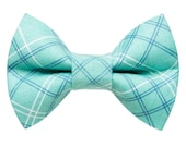 "Cat Bow Tie - ""The Supervisor"" -  Teal Plaid"