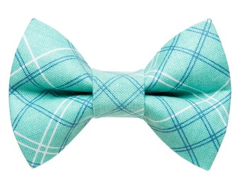 """Cat Bow Tie - """"The Supervisor"""" -  Teal Plaid"""