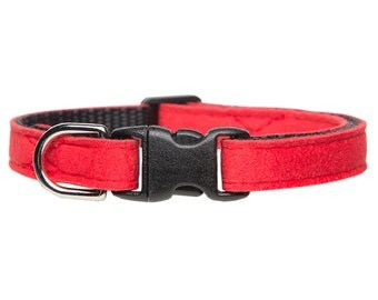 "Cat Collar - ""The Luxe"" - Red Ultrasuede"
