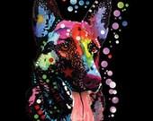 German Shepherd Dog T Shirt WOMANS Short Sleeve Blacklight Top Neon Florescent Dog Print 20133NBT2