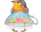 English Robin Watercolor - Fine Art PRINT, Nursery Art, Teacup Painting, Funny Watercolour Painting, Kitchen Art