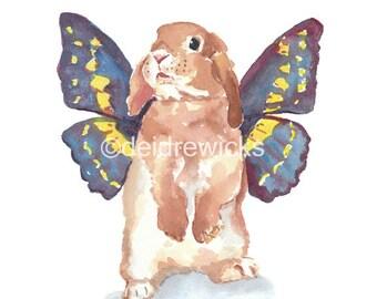 Nursery Art - Rabbit Watercolor PRINT, 11x14 Illustration, Butterfly Wings