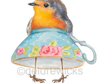 English Robin Watercolor - 8x10 Illustration PRINT, Nursery Art, Teacup Painting, Funny Painting, Kitchen Art