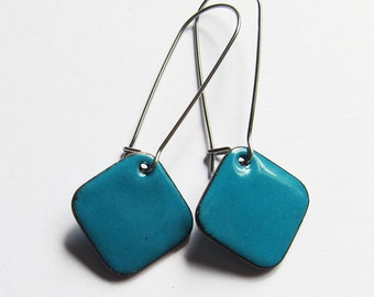 Turquoise blue enamel drop earrings Colorful surgical steel geometric earrings Minimalist jewelry Teal dangle earrings